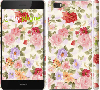 """для Huawei Ascend P8 Lite """"Цветочные обои"""" - интернет-магазин чехлов endorphone.com.ua"""