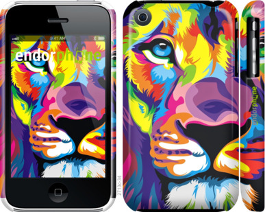 """Чехол для iPhone 3Gs """"Разноцветный лев"""" - интернет-магазин чехлов endorphone.com.ua"""