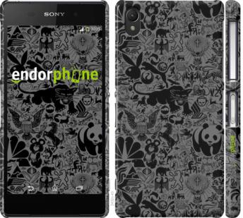 "Чехол для Sony Xperia Z2 D6502/D6503 ""Чёрно-серый стикер бомбинг"" - интернет-магазин чехлов endorphone.com.ua"
