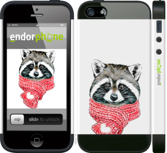 "iPhone 5 ""Енот в шарфе"" - интернет-магазин чехлов endorphone.com.ua"