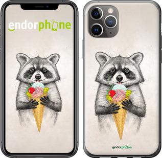 """TPU черный чехол для iPhone 11 Pro Max """"Енотик с мороженым"""" - интернет-магазин чехлов endorphone.com.ua"""