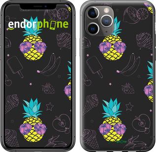"TPU черный чехол для iPhone 11 Pro Max ""Summer ananas"" - интернет-магазин чехлов endorphone.com.ua"