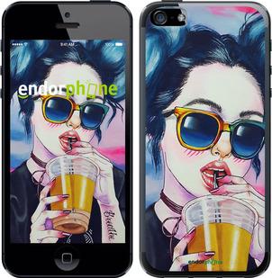 """Чехол для iPhone 5s """"Арт-девушка в очках"""" - интернет-магазин чехлов endorphone.com.ua"""