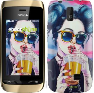 """Силиконовый чехол для Nokia Asha 308/309 """"Арт-девушка в очках"""" - интернет-магазин чехлов endorphone.com.ua"""