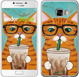 """Силиконовый чехол для Samsung Galaxy C7 C7000 """"Зеленоглазый кот в очках"""" - интернет-магазин чехлов endorphone.com.ua"""