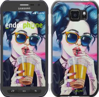 """Силиконовый чехол для Samsung Galaxy S6 active G890 """"Арт-девушка в очках"""" - интернет-магазин чехлов endorphone.com.ua"""