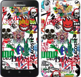 """TPU черный чехол для Lenovo S850 """"Many different logos"""" - интернет-магазин чехлов endorphone.com.ua"""