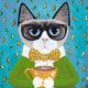 "Чехол для iPhone 5 ""Cat&Coffee"" - интернет-магазин чехлов endorphone.com.ua"